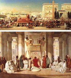Edward John Poynter, Israel in Egypt, 1867.Adrien Guignet, Joseph Interpreting Pharaohs Dream, 1845.