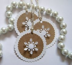 Items similar to Snowflakes Tags Kraft and White Theme for Favor Bags/Gift Bags Tree Decorating Set of 10 on Etsy