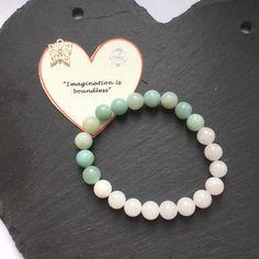 Gemstone Bracelet/Beaded Stone Bracelet/Gift for Her/Chakra Bracelet/Energy Bracelet/Stacking Bracelet/White Jade/Amazonite/Reiki Bracelet by PositivelyGiving on Etsy