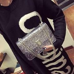 2017 New Fashion Women Bags Bright PU Leather Chain Messenger Bags Sequines Flap Crossbody Women Bags Sac A Main Femme De Marque