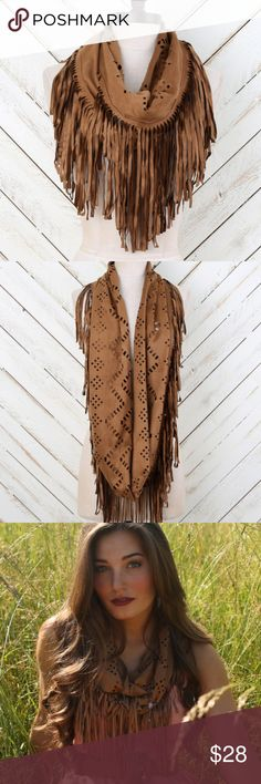 Brown Suede Fringe Infinity Scarf NWT Altar'd State Brown Suede Fringe Lastercut scarf.  New with tags. Altar'd State Accessories Scarves & Wraps