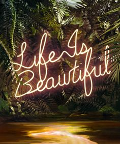 From Artstar Gallery Auction, Yee Wong, Disco In the Jungle: Life is Beautiful Printed to the highest industry quality by a fine art printer using … Neon Light Signs, Neon Signs, Urban Deco, Neon Jungle, Jungle Life, Neon Quotes, Neon Words, Neon Aesthetic, Hanging Signs