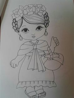Desenhos Mexican Embroidery, Baby Embroidery, Hand Embroidery Designs, Embroidery Stitches, Embroidery Patterns, Pencil Art Drawings, Cute Drawings, Drawing Sketches, Painting Patterns