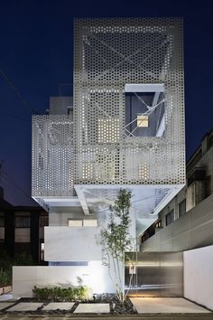 Hiroyuki Moriyama completes Tokyo apartment building with perforated skin Architecture Du Japon, Architecture Design, Facade Design, Metal Facade, Metal Buildings, Tokyo Apartment, Building Skin, 3d Home, Japanese House