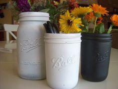 black mason jars | Painted black Ball Mason jars SET 2