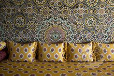 A traditional moroccan divan Moroccan Fabric, Moroccan Theme, Moroccan Pattern, Moroccan Design, Marrakech, Indonesian Decor, Unusual Wallpaper, Arabian Decor, Textiles