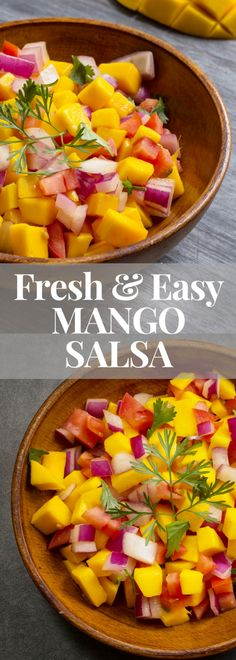 This fresh and easy mango salsa is perfect for entertaining - the juices from the ripe mango, tomatoes and lime just mingle together, make friends and create a burst of flavours in your mouth. Serve with salmon as a main course or with tortilla chips as an appetizer. #mangosalsa #partyfood #gameday #salsa #healthypartyfood