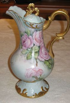 "Antique Vintage China Teapot Limoge White Gold Pink Rose Flowers 12"" HT | eBay"