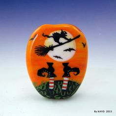 """DITCH THE WITCH !"" byKAYO a Handmade CLEVER CAT Lampwork Glass Focal Bead SRA #Lampwork"