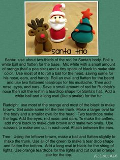 Explanation of how to make Santa Trio with just 5x 5grams (white, black, orange, red, and green). www.jumpingclayusa.com