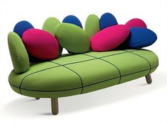 Colorful Jelly sofa with egg shaped pillows