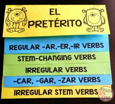 The preterite can be a monster to conjugate, but this can help!  This flip book for all preterite conjugations has notes and conjugation practice for each type of preterite verb.