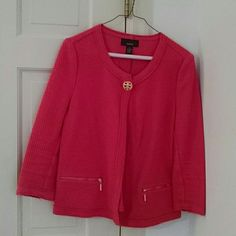 Alfani jacket Unlined, textured soft fabric jacket with top gold tone button and 3/4 length sleeve. Two gold tone zippered pockets in the front. This is a shorter jacket great with jeans or dressed up with tailored pants. The color is a pink/coral. Alfani Jackets & Coats Blazers