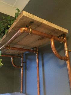 Copper Pipe Shelving unit in an Industrial / Urban / Vintage style. 2 Tier Hand Crafted Shelves with African Sapele Hardwood. Pipe Shelves, Wood Shelves, Handmade Shelving, 15mm Copper Pipe, Floating Platform, Warm Industrial, Decoration, Etsy Vintage, Track Lighting