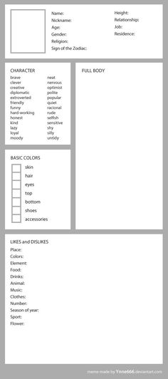 Blank meme for OC - original character by ynne-black <<This is actually really helpful Book Writing Tips, Writing Help, Writing Prompts, Writing Ideas, Drawing Prompt, Drawing Tips, Character Design Challenge, Writing Characters, Character Sheet Writing