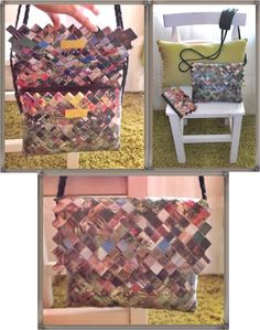 bolso papel Candy Wrapper Purse, Candy Wrappers, Picnic Blanket, Outdoor Blanket, Recycling, Purses, Paper, House, Ideas