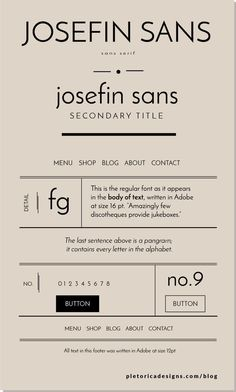 Josefin Sans — PLETÓRICA DESIGNS This sans serif type created by Santiago Orozco was inspired by the font trends: clean, balanced, geometric forms. Josefin Sans combines well with more elaborate fonts like Coquette and Playfair Display. Typography Layout, Modern Typography, Modern Fonts, Typography Quotes, Typography Letters, Lettering, Typography Poster, Creative Typography, Vintage Typography