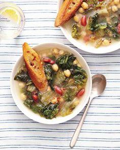 Escarole & Bean Soup- small head escarole leaves torn, garlic cloves, red kidney beans, chickpeas...