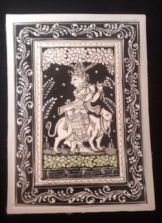 Intricate black & white sketch of lord Krishna by PattachitraNet