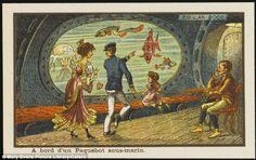 Life aquatic: This image, entitled A bord d'un Paquebot sous-marin, shows a couple observi...
