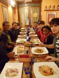 Combined MUN/Roman history trip co-led by Ms. Vardi and Mr. Green.  Enjoying some wonderful pasta in the beautiful city of Genoa, Italy, the site of GeMUN!