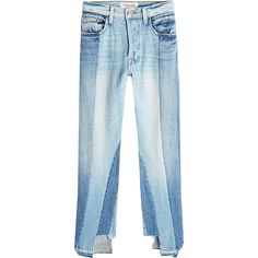 Frame Denim Patchwork Jeans ($609) ❤ liked on Polyvore featuring jeans, denim, blue, distressed jeans, ripped denim jeans, blue jeans, destroyed denim jeans and cutout jeans