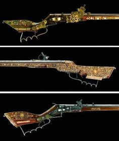 The tschinke was a light hunting rifle used mainly for shooting birds. It takes its name from Teschen in Poland (where this type of weapon was developed) and was a popular hunting weapon among the north European nobility during the seventeenth century. The nobility were able to afford to have, beautifully, ornately inlaid decoration on their guns, like some of the examples shown below.