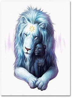 Child of Light - Signed Fine Art Giclee Print - Wall Art - Fantasy Lions Sun and Moon Father and Son - Painting by Jonas Jödicke Fantasy Kunst, Fantasy Art, Fantasy Wolf, Watercolor Wolf, Child Of Light, Lighted Canvas, Lion Art, Print Artist, Mythical Creatures