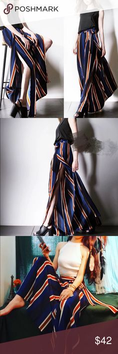 Fall Wide cut strip pants Super chic. Material: polyester fiber. Size see the last pic. It's so perfectly current for 2016-2017. Free People and Reformation have both done takes on this kind of wide cut pants, perfectly suited for any season Pants