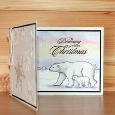 Christmas has arrived at Hobby Art! Introducing 'Poles Apart' New Size Clear set contains 14 stamps. Designed by Sharon Bennett. Card by Sally Dodger Cat Crafts, Paper Crafts, Easel Cards, Art Cards, Baby Polar Bears, Parchment Craft, Great Hobbies, Penny Black, Art Journal Inspiration