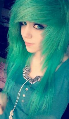 Scene hair, when my hair gets longer ima try and cut it like that and dye it a light blonde :3