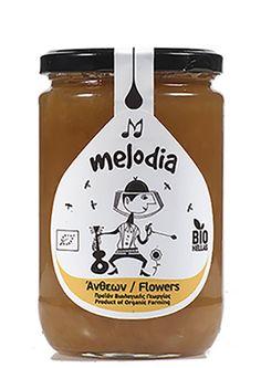 """ΒΙΟΛΟΓΙΚΟ ΜΕΛΙ ΑΝΘΕΩΝ """"MELODIA"""" 850gr – Ampari.gr Ketchup, Honey, Organic, Food, Meals"""