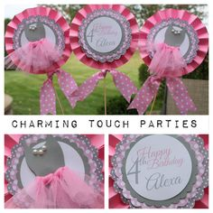 Pack of three custom pink and gray BALLET by CharmingTouchParties, $18.00