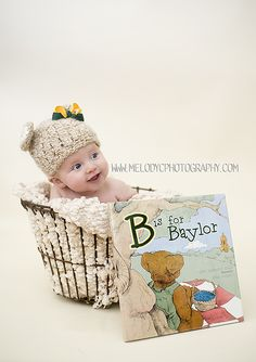"""What a good idea for a #FutureBear's photo shoot: using the classic #Baylor Press's """"B is for Baylor"""" book."""