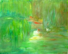"""Green Spring Abstract Landscape Painting Acrylic On Canvas Spring Painting Spring Green 9.4x11.8"""" by PuzzledbyArtmondo by PuzzledbyArtmondo on Etsy"""