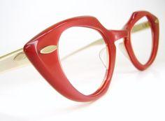 Vintage Red Cat eye Eyeglasses Sunglasses by Vintage50sEyewear