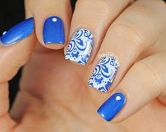 Image via Beautiful Wedding Blue Nail Art Image via Beautiful Wedding Blue Nail Art Image via Teal Tips with Details Shellac Nail Art, Stamping Nail Art, Blue And White Nails, Blue Nails, Fabulous Nails, Gorgeous Nails, Nail Polish Style, Polish Nails, Sassy Nails