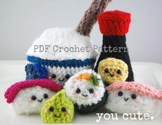 PDF Crochet Pattern- Amigurumi Sushi Bar Collection