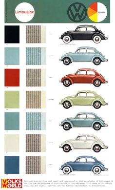 VW Beetle colour charts