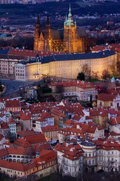 Prague Castle and part of Lesser Quarter in sunset light. Taken from Petřín - get your picture like this with us - www.ThePraguePhoto.com
