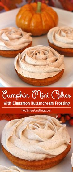 Pumpkin Mini Cakes with Cinnamon Buttercream Frosting are the perfect Fall Treat and a unique take on the classic cupcake. They would be a great Thanksgiving dessert for your guests who don't like pie. They would also look beautiful on your Christmas Dessert Table. Follow us for more great Thanksgiving Food and Christmas Food ideas. via @two