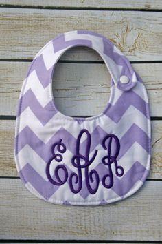 Personalized bib, Monogrammed bib, Baby shower gift, Seersucker bib, You Customize on Etsy, $15.00
