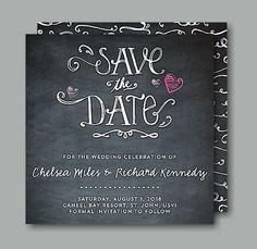 Hearts Chalkboard Save the Date Card