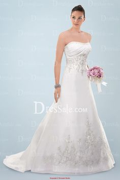 Charm Strapless Wedding Dress with Chic Exquisite Beaded Embroidery and Pleats