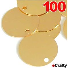 """ECRAFTY.COM 100 PACK of flat round gold-plated solid brass circle tags or stamping blanks, ready for stamping and other altered styles of jewelry. 25mm across (1"""") x.5mm thick or 25 gauge. Can be used for altered art jewelry, message charms, dog tags, pendants, customized name charms for jewelry, etc.  See more at: http://www.ecrafty.com/p-3882-100-pack-metal-stamping-blanks-discs-1-flat-round-25mm-gold-plated-charm-tags.aspx  #ecrafty"""