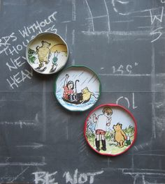 Fridge magnets Winnie the pooh upcycled jar lids small gift refrigerator magnets fridge decor cute kitsch retro kitchen decor unique gifts by LottiesSewKnit on Etsy