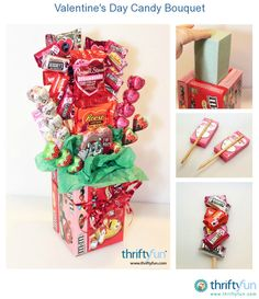 This is a guide about making a Valentine's Day candy bouquet. Flowers are beautiful and a delightful gift to receive, but you can't eat them. Try this candy bouquet instead or in addition to the traditional bouquet of flowers. Candy Bar Bouquet, Gift Bouquet, Bouquet Flowers, Candy Gift Baskets, Valentine's Day Gift Baskets, Raffle Baskets, Valentines Day Baskets, Valentine Day Crafts, Candy Arrangements