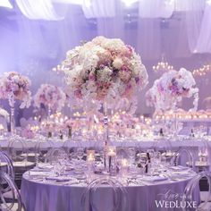 See more of this dreamy lilac & silver #weddingreception on WedLuxe.com! | Photography By: 5ive15ifteen | WedLuxe Magazine | #WedLuxe #Wedding #luxury #weddinginspiration #luxurywedding #weddingreception #centerpiece #tabledecor