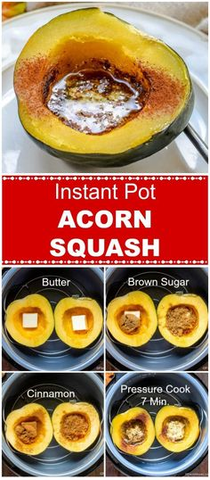 Instant Pot Acorn Squash (IP & Oven Roasting Included) - Flavor Mosaic Instant Pot Acorn Squash is a Fall side dish, with only 5 ingredients, and can be ready in under 25 minutes. Oven roasting instructions are also included. Instant Pot Dinner Recipes, Side Dish Recipes, Side Dishes, Instant Pot Pressure Cooker, Pressure Cooker Recipes, Pressure Cooking, Instant Pot Veggies, Acorn Squash Recipes, Acorn Squash Roasted