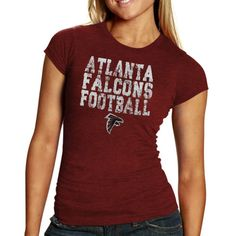 Atlanta Falcons Women's Stacked Tri-Blend Slim Fit T-Shirt - Red - $24.99